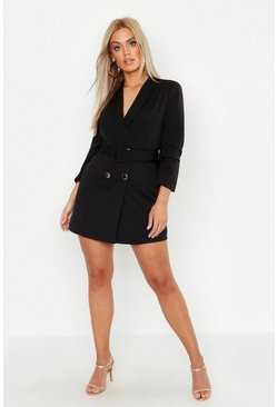 Black Plus Double Breast Gold Button Blazer Dress