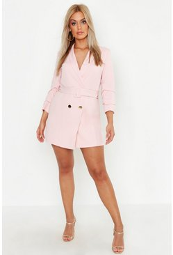 Blush pink Plus Double Breast Gold Button Blazer Dress