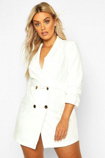 White Plus Double Breast Gold Button Blazer Dress