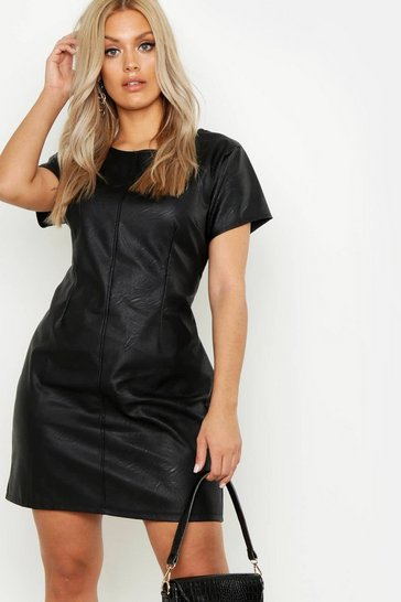 Black Plus PU Cap Sleeve Shift Dress