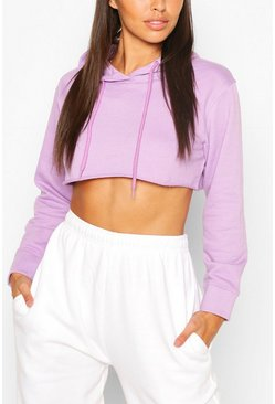 Lilac purple Petite Cropped Oversized Hoody