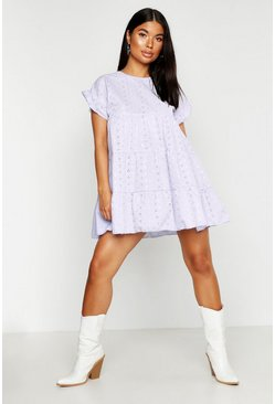 Lilac purple Petite Broderie Anglaise Smock Dress