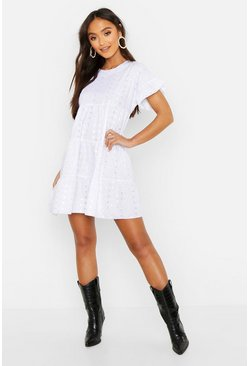 Petite Broderie Anglaise Smock Dress, White bianco