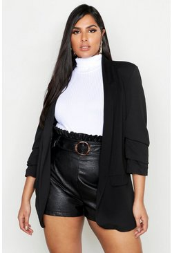 Black Plus Collarless Ruched Sleeve Blazer