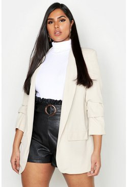Stone beige Plus Collarless Ruched Sleeve Blazer