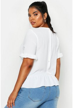 White Plus Woven Button Back Smock Top