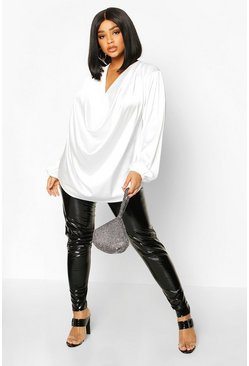 Ivory white Plus Satin Cowl Long Sleeve Blouse