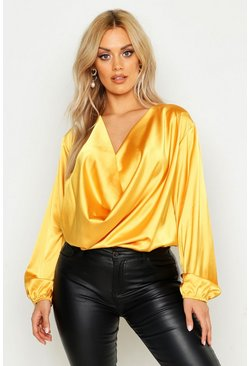 Mustard Plus Satin Cowl Long Sleeve Blouse