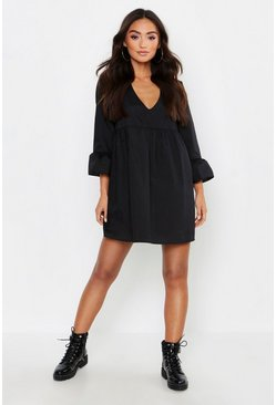 Black Petite V Neck Smock Dress