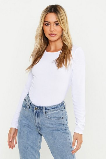 White Petite Rib Long Sleeve Basic Top