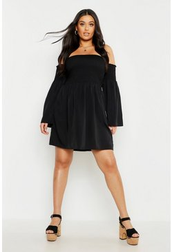 Plus Shirred Flare Sleeve Bardot Skater Dress, Black