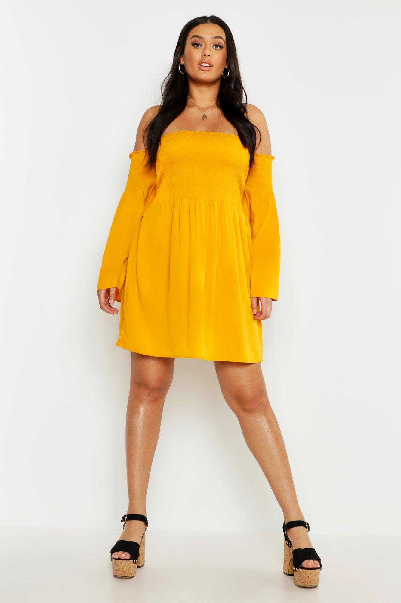 Plus Shirred Flare Sleeve Bardot Skater Dress 8