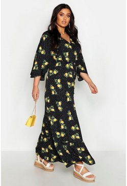 Plus Floral Spot Print Button Up Maxi Dress, Black