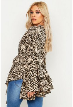 Camel beige Plus Printed Extreme Sleeve Wrap Top