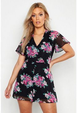 Plus Floral Print Wrap Front Playsuit, Black nero