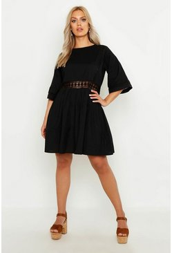 Black Plus Crochet Lace Linen Smock Dress