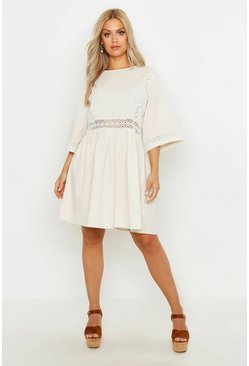 Ivory white Plus Crochet Lace Linen Smock Dress