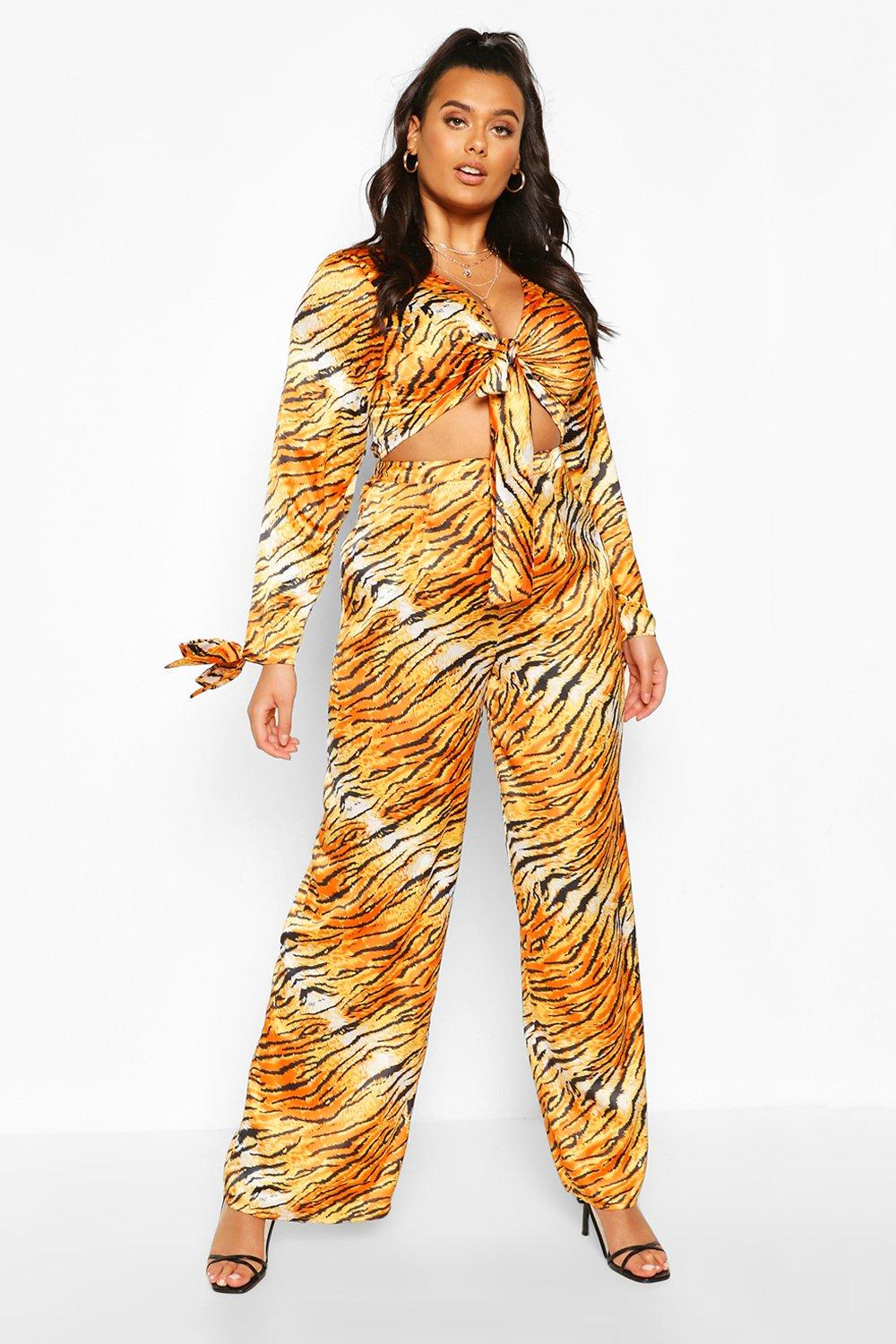 Plus Tie Front Tiger Top & Trouser Co-Ord 7