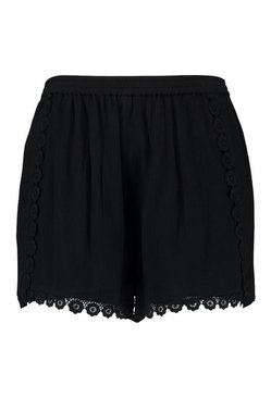Black Plus Chenille Lace Flower Trim Shorts