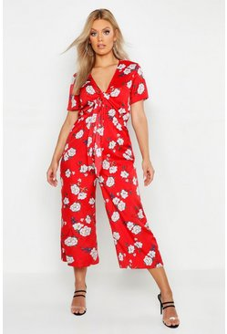 Plus Floral Print Knot Front Culotte Jumpsuit, Red rosso
