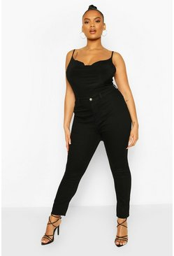 Plus High Rise Stretch Skinny Jeans, Black nero