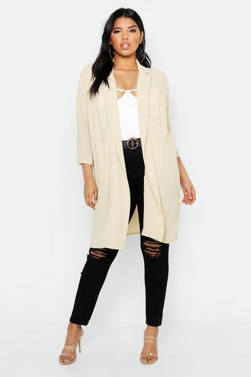 Stone beige Plus Woven Pocket Duster