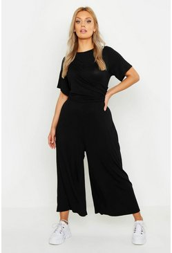 Black Plus Twist Detail Cap Sleeve Culotte Jumpsuit