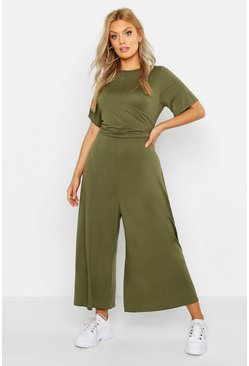 Khaki Plus Twist Detail Cap Sleeve Culotte Jumpsuit
