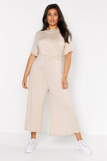 Stone beige Plus Twist Detail Cap Sleeve Culotte Jumpsuit