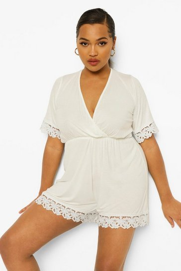 White Plus Crochet Trim Wrap Over Playsuit
