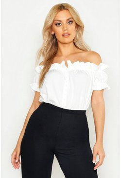 White Plus Off Shoulder Ruffle Off The Shoulder Top