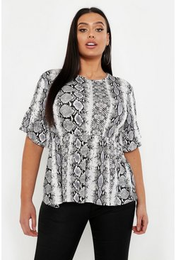 Ivory white Plus Snake Print Ruffle Sleeve Smock Top