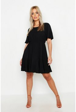 Black Plus Tiered Crepe Smock Dress