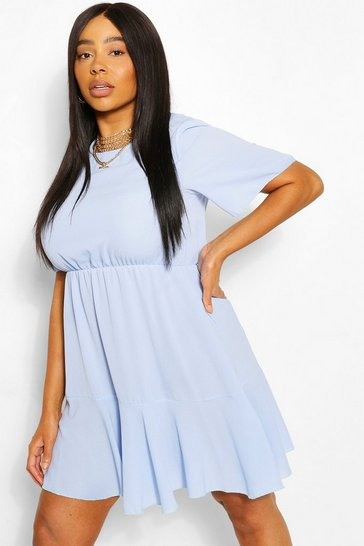 Blue Plus Tiered Crepe Smock Dress
