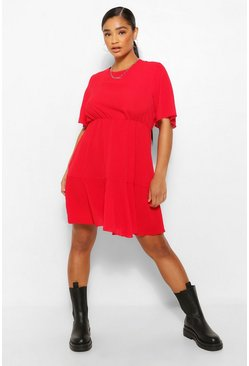 Red Plus Tiered Crepe Smock Dress