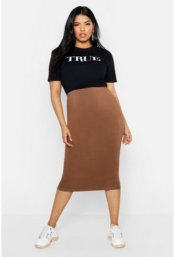 Chocolate brown Plus Midi Tube Skirt