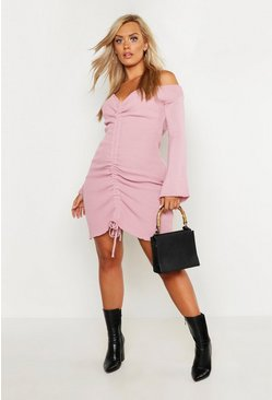 Blush pink Plus Ruched Off The Shoulder Knitted Dress