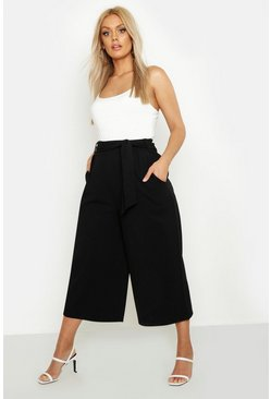 Black Plus Self Belt Structured Culotte Trouser