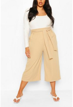Stone beige Plus Self Belt Structured Culotte Trouser