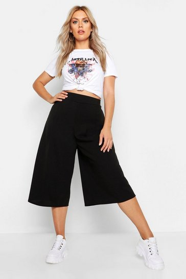 Black Plus Wide Leg Culottes