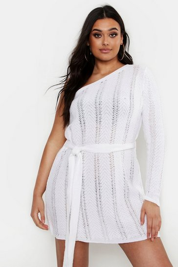 Ivory white Plus One Shoulder Mini Beach Dress