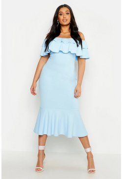 Baby blue blue Plus Ruffle Fishtail Midi Dress