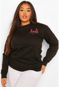 Black Plus LA Beverly Hills Slogan Sweat