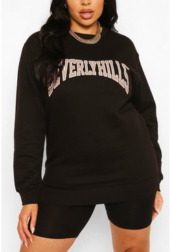 Black Plus Beverly Hills Slogan Sweat