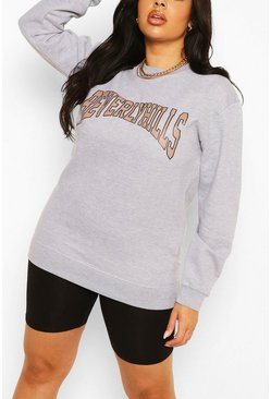 Grey Plus Beverly Hills Slogan Sweat