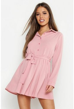 Rose pink Petite Smock Shirt Dress