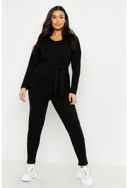 Black Plus Knitted Tie Waist Lounge Set