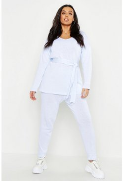 Sky blue Plus Knitted Tie Waist Lounge Set