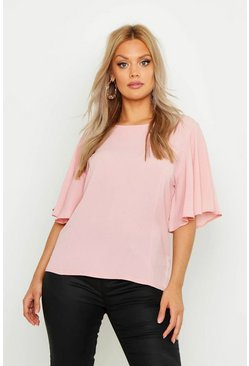 Blush pink Plus Angel Sleeve Fit & Flare Top