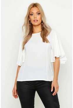 Ivory white Plus Angel Sleeve Fit & Flare Top